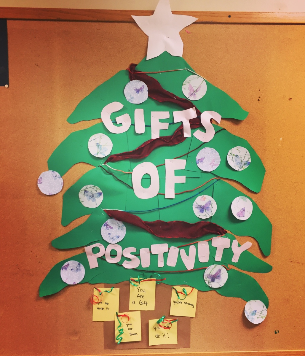 Gifts Of Positivity - A Christmas Bulletin Board Idea